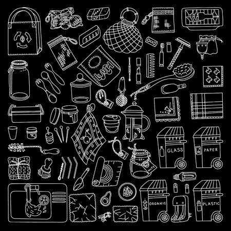 Zero waste doodle set against black background. Kitchen, beauty, home and shopping. Ecoliving. Sustainable houshold. Illustration
