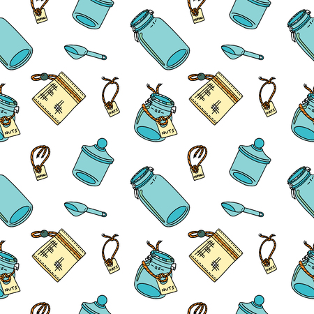 Seamless pattern in doodle style with zero-waste and plastic-free items for kitchen. Sustainable household and green house. Stationery and fabric print pattern. Illustration
