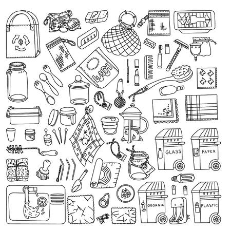 Zero waste doodle. Kitchen, beauty, home and shopping. Ecoliving. Sustainable houshold. Illustration