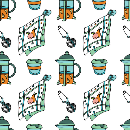 Seamless pattern with french-press, dish towel and tea-cup. Doodle illustration. Fabric print pattern, stationery and wrapping.