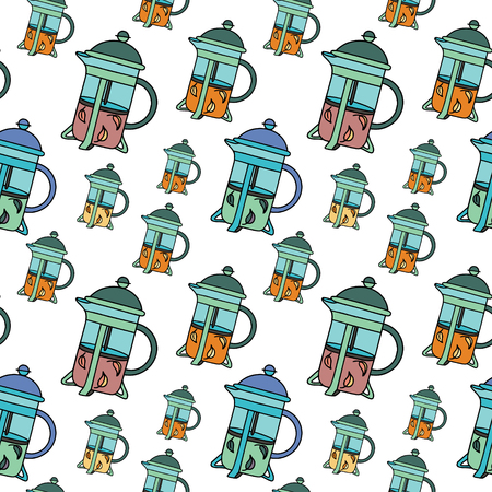 French-press with black and green tea. Doodle illustration. Fabric print pattern, stationery and wrapping. Illustration