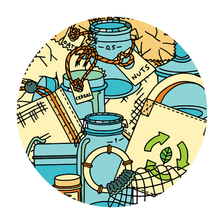 Multiuse shopping and storage items. Bags, glassware, labels, and cotton pouches. Doodle illustration in a round frame.