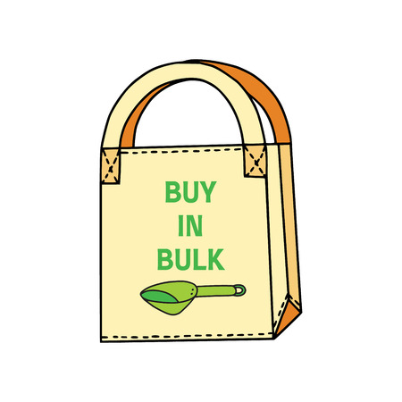 Buy in bulk slogan on a cotton shopping bag with a picture of a scoop. Zero waste house. Sustainable household. Illustration