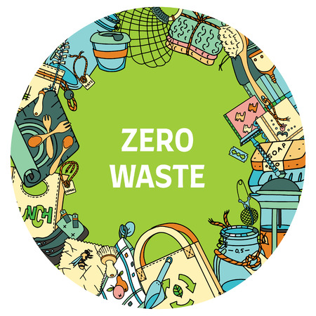 Zero waste text in a round frame. Sustainable household items in doodle style. Illustration