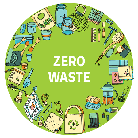 Zero waste text in a round frame. Sustainable household items in doodle style.
