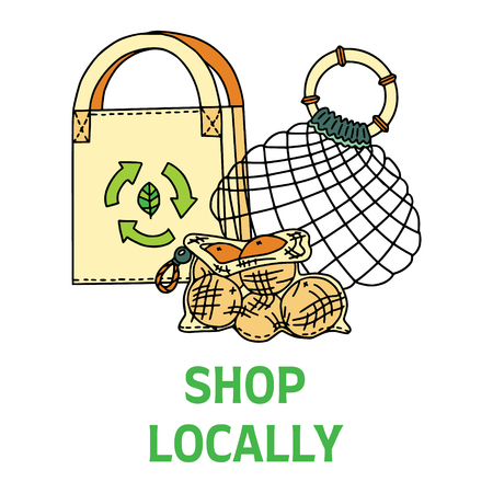 Shop Locally text with different bags. Zero waste living. Sustainable household. Plastic free living. Refuse plastic bags. Illustration