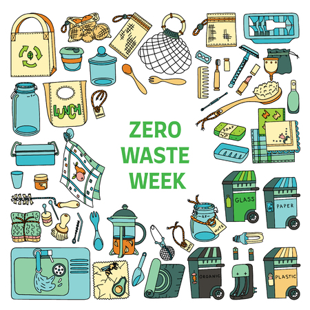 Zero waste doodle set in color with text Zero Waste Week. Kitchen, beauty, home and shopping. Ecoliving. Sustainable houshold.