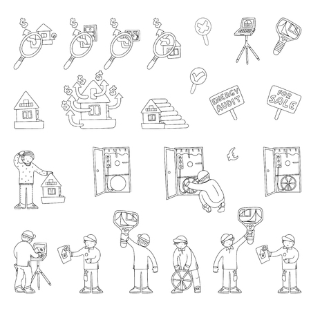 Energy audit doodles for specialized services sites, promomaterials and brochures.
