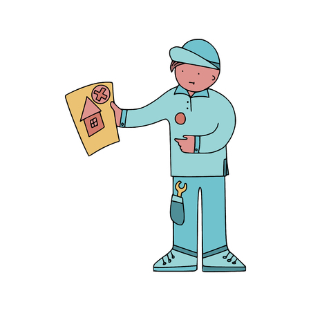 Energy audit technicians with negative report in a doodle style. Illustrations for specialized home energy audit services sites, promomaterials and brochures. Illusztráció