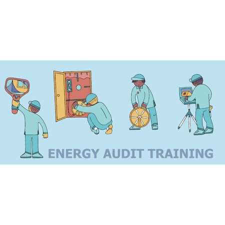 Energy audit  training doodles for specialized services sites, promomaterials and brochures.