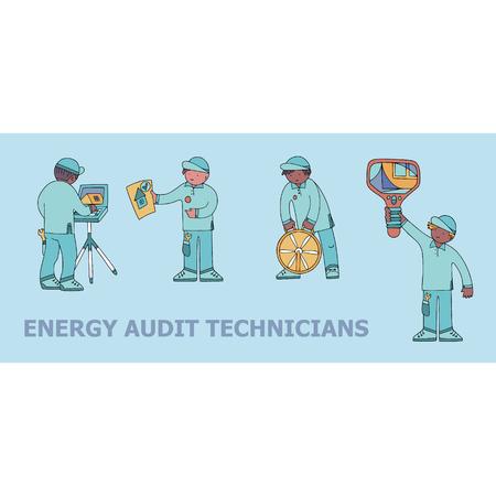 Energie-Audit-Techniker kritzeln für spezialisierte Service-Sites, Werbematerialien und Broschüren.