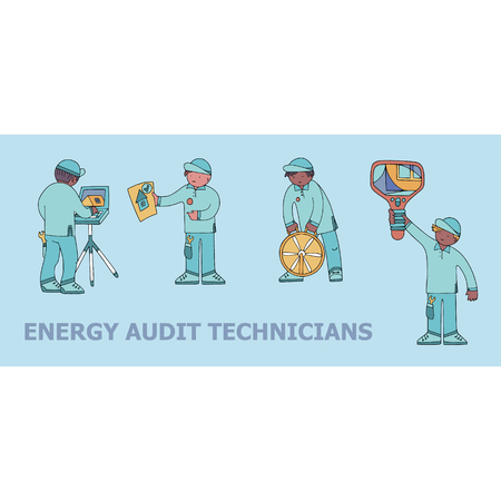 Energy audit technicians doodles for specialized services sites, promomaterials and brochures. 일러스트