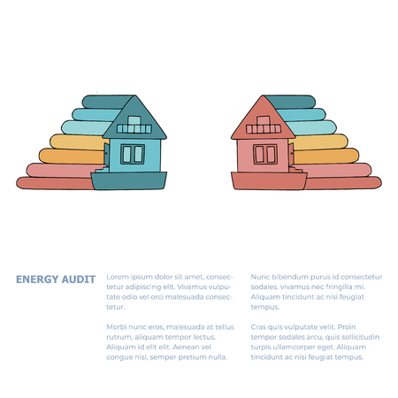 Home energy consumption levels doodles for home energy audit services sites, promomaterials, articles  and brochures. Text template with words Energy Audit. Picture of a house corresponding to a definite energy consumption level. Ilustração