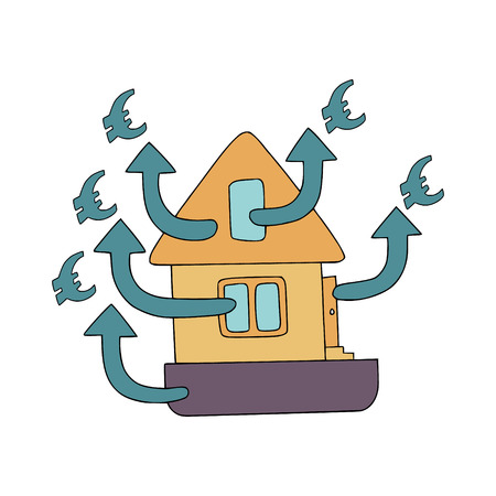 Home energy audit doodles with symbolic waste of euro through poor insulation, foundation, windows and roof. Fine for specialized services of home energy audit, their promomaterials and brochures. Illustration