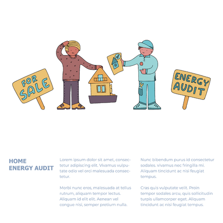 Home energy audit doodles with text. Property owner gets presale energy audit report from a technician. Fine for energy audit services sites, promomaterials and brochures. 일러스트