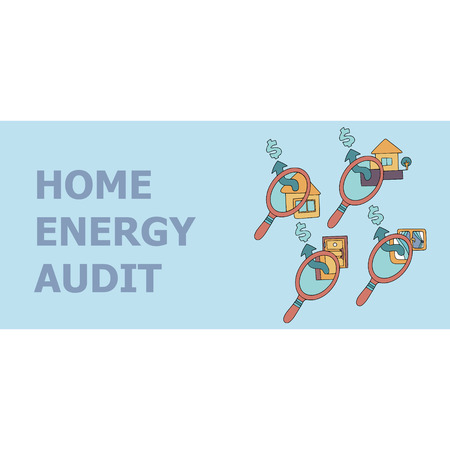 Home energy audit doodles for specialized services sites, promomaterials and brochures. 일러스트