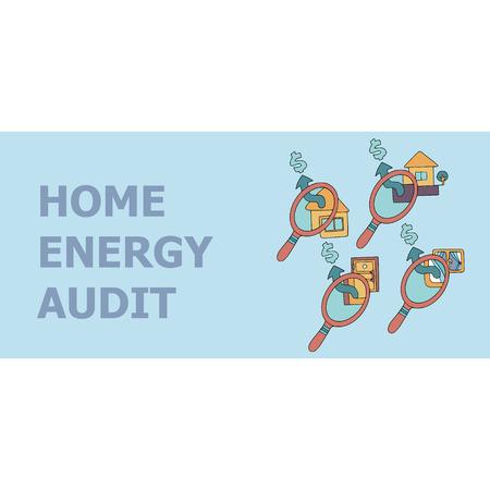 Home energy audit doodles for specialized services sites, promomaterials and brochures. Ilustração