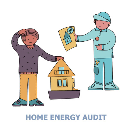 Home energy audit doodles with a picture of a home owner getting an energy efficiency report from the technician. Text Home Energy Audit. Fine for specialized services sites, promomaterials and brochures.