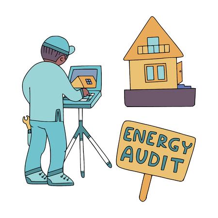 Energy audit doodles for specialized services sites, promomaterials and brochures. Ilustração