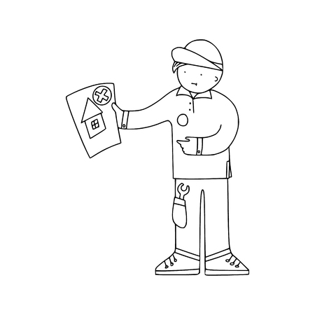 Energy audit technicians with negative report in a doodle style. Illustrations for specialized home energy audit services sites, promomaterials and brochures. 일러스트