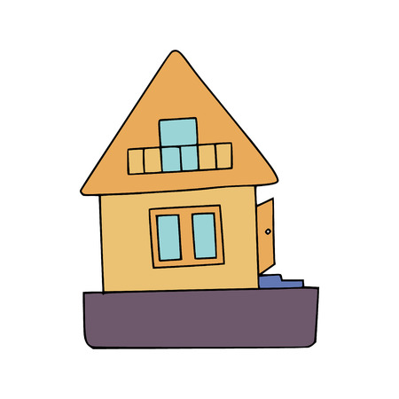 Energy audit doodle with a picture of a house with basic elements (roof, windows, foundation, door, steps, balcony. Image for specialized services sites, promomaterials and brochures.