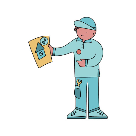 Energy audit technicians with positive report in a doodle style. Illustrations for specialized home energy audit services sites, promomaterials and brochures.
