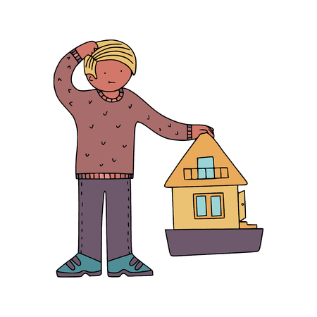 Home owner thinking of the house. Proprietorship decisions illustration.