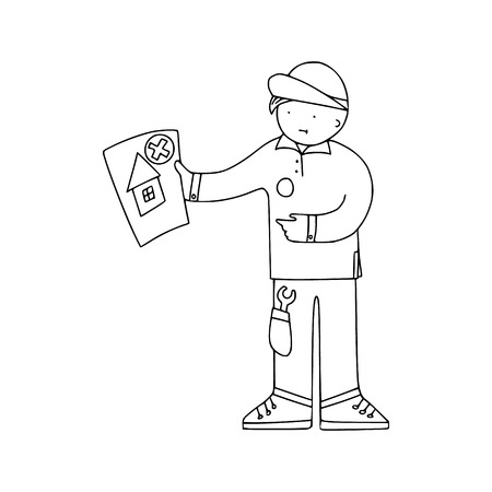 Energy audit technicians with negative report in a doodle style. Illustrations for specialized home energy audit services sites, promomaterials and brochures.  イラスト・ベクター素材