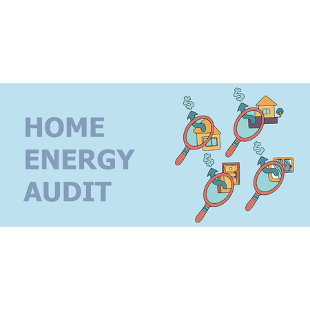 Home energy audit doodles for specialized services sites, promomaterials and brochures.  イラスト・ベクター素材