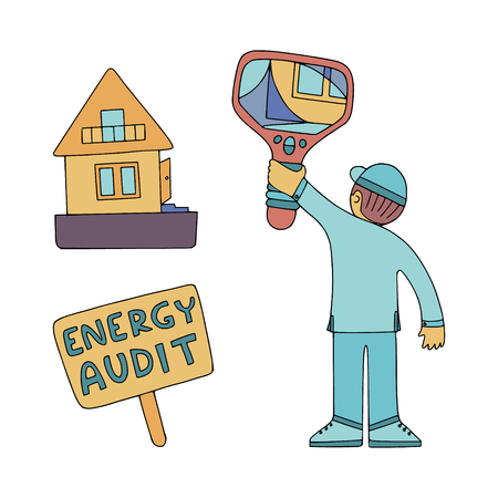 Energy audit doodles for home energy audit services sites, promomaterials and brochures. Picture of a technician with thermal camera, checking the house at energy audit.