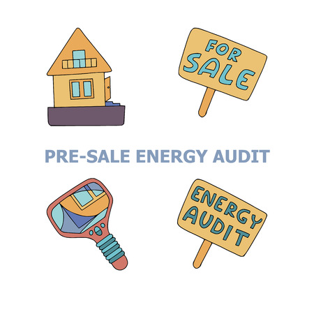 Presale energy audit doodles for home energy audit services sites, promomaterials and brochures. Text PreSale Energy Audit, a house, two signboards and a thermal camera.