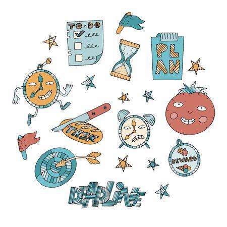 Conjunto de elementos de gestión del tiempo y procrastinación. Símbolos de tiempo, tareas, puntería, rotulación de fecha límite y técnica pomodoro.