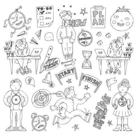 Set of doodles on procrastination and time management. Symbols and metaphores about delaying and successful performance of tasks. Fine for articles and magazine illustrations.