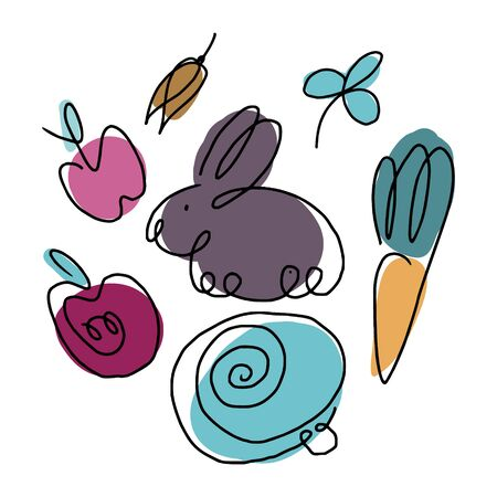 Line shapes of rabbit, cabbage, apple, oats, carrot and clover. Illustrations for clipart, stickers and children books and visual aids.
