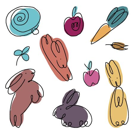 Rabbits and vegetables line shapes. Fine for fabric print, stationery, wrapping paper, sticker.