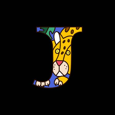 Serif alphabet letter j with colored cartoon jaguar. Fine for posters, visual aids and study books for preschool.