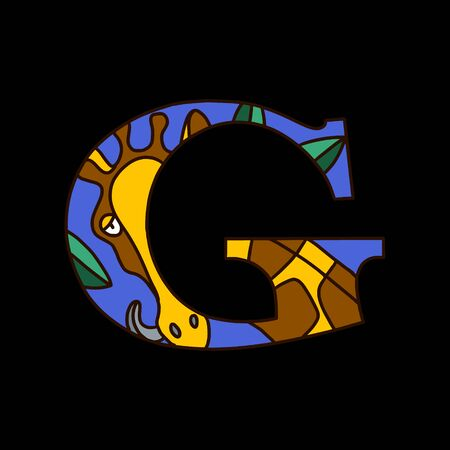 Serif alphabet letter g with colored cartoon giraffe. Fine for posters, visual aids and study books for preschool.