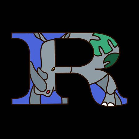 Serif alphabet letter r with colored cartoon rhinoceros. Fine for posters, visual aids and study books for preschool.