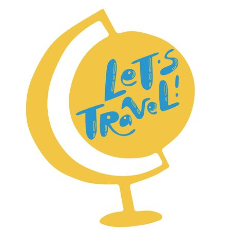 Lets Travel lettering. Illustrations for stationery, travel agencies sites, travel brochures and articles. Textile prints.  일러스트