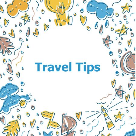 Travelling symbols and objects. Illustrations for stationery, travel agencies sites, travel brochures and articles. Text example for articles about tourism.