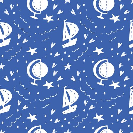 Travelling symbols and objects. Background and textures for stationery, travel agencies sites, travel brochures and articles. Textile prints. Children fabric print.  Ilustração