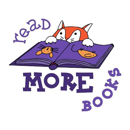 Read more books lettering. Doodles with a book and a reading cat. New year motivational quote. Textile print, stationery illustration, new year calendar and gift cards picture. Visual preschool aids illustration. Ilustração