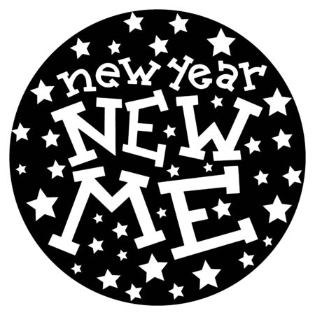 New Year New Me lettering slogan. Greeting cards, textile prints, social nets and courses banner