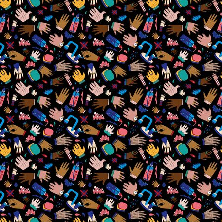 Wash your hands seamless pattern with hands of kids and grown ups, soap and crossed out bacteria and viruses. Background for medical sites, informational posters and brochures. Ilustración de vector