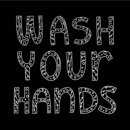 Wash your hands poster. Slogan with lettering with crossed out viruses and bacteria, tap and hands.