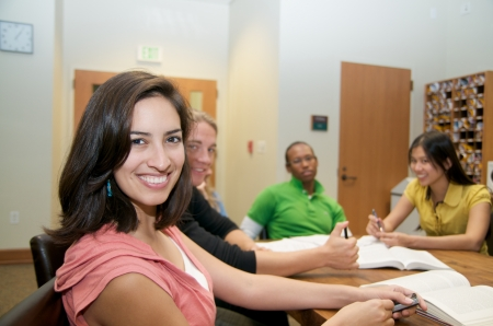 Group of Multicultural Students studying in student lounge Stock Photo