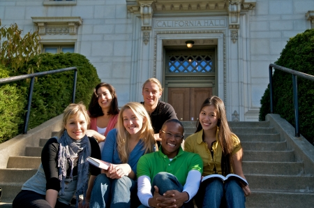 Group of multicultural student group outdoor studying