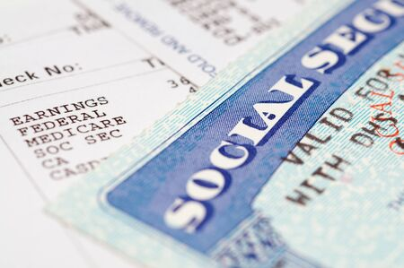 social security: Social security cards with statements.
