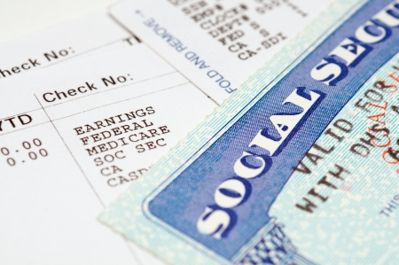 Social security cards with statements. photo