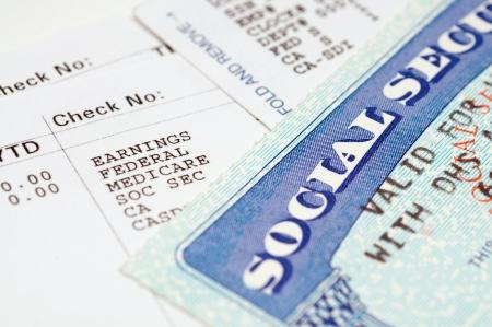 seguridad social: Tarjetas de seguridad social con los estados.
